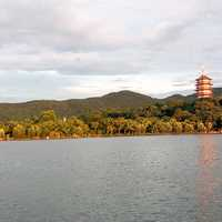 Lake and Temple in Hangzhou