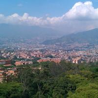 Cityscape and Mountains with sky and clouds in Medellin, Colombia