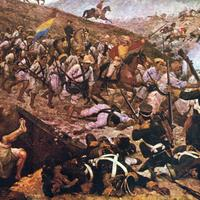 Battle of Boyacá with lots of soldiers in Colombia