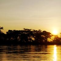Sunset over the Magdalena River in Colombia