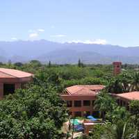 University Icesi and farallones of Cali with mountains behind in the landscape in Cali, Colombia