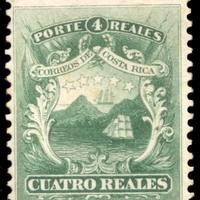 4 Reales Stamp part of the first series of 4 postal stamps issue