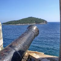 Cannon pointing out from the fort in Dubrovnik, Croatia