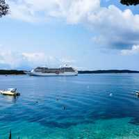 Cruise Ship on the Ocean in the seascape in Croatia