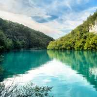 Emerald water lake at Plitvice lakes
