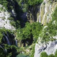 Large Waterfall at Plitvice Lakes National Park, Croatia