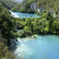 Turquoise-colored lakes at Plitvice Lakes National Park, Croatia