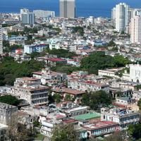 Cityscape with buildings and towers in Havana, Cuba