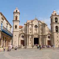 Large church and courtyard in Havana, Cuba