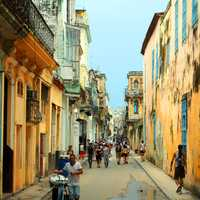 Streets with people in Havana, Cuba