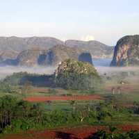 Hills and mist in the landscape in Cuba