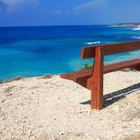 Bench by the coast in Cyprus