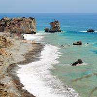 Rock of Aphrodite in the landscape on the coast in Cyprus
