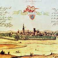 Drawing of Ostrava in 1728 in Czech Republic