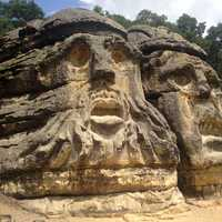 Large Stone Carvings on Rock
