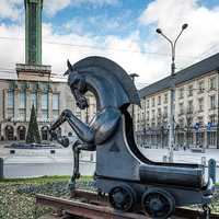 Sculpture of the city's horse emblem in Ostrava, Czech Republic