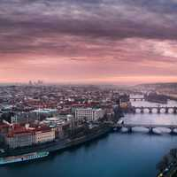 Beautiful Cityscape with a river under dusk skies in Prague, Czech Republic