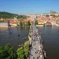 Bridge across the water in Prague