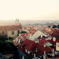 Looking at the building rooftops of Prague, Czech Republic