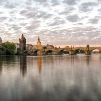 Panorama of Charles Bridge over the river in Prague, Czech Republic