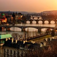Prague panorama at sunset with orange sky in Czech Republic