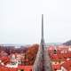 Rooftops and needle on tower in Prague, Czech Republic