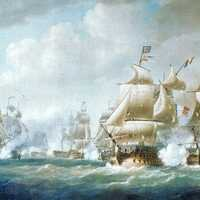 French and British ships fighting at the battle of Santo Domingo history
