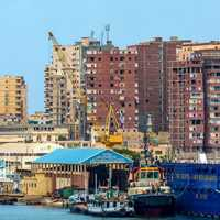 Cranes and Construction along the shore in Alexandria, Egypt