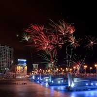 Fireworks over the night sky in Alexandria, Egypt