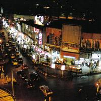Streets of Alexandria at night with lights in Egypt