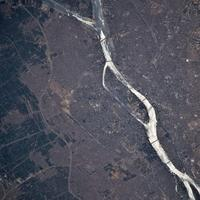 Aerial view of the Nile flowing through Cairo, Egypt