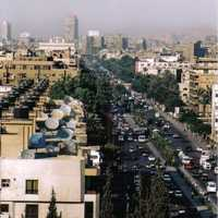 Cityscape view of the Main Street in Giza, Egypt