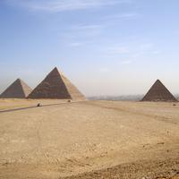 Desert landscape and Pyramids at Giza, Egypt