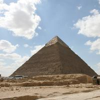 Great Pyramid in the landscape in Giza, Egypt