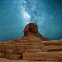 Milky Way Galaxy over the Sphinx in Giza, Egypt