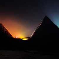 Pyramids at night in Giza, Egypt