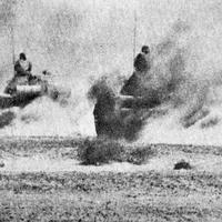 Egyptian tanks advancing in the Sinai in the Yom Kippur War in 1973