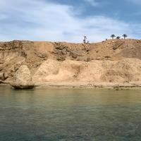 Shoreline with dirt hill in Egypt
