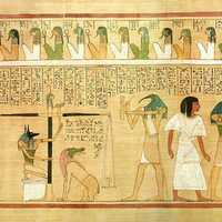 Weighing of the heart scene from the Book of the Dead, Egypt