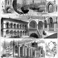 An 1873 engraving of sights around Bristol in England