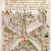 Robert Ricart's map of Bristol, of 1478 in Bristol, England