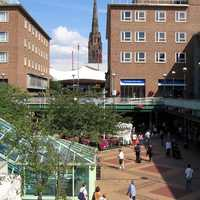 Coventry precinct with spire of ruined cathedral in the background