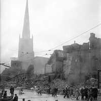 Scene after WWII bombing in Coventry