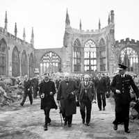 Winston Churchill visiting the ruined Coventry Cathedral
