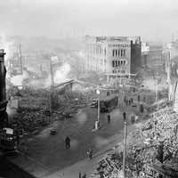 WWII bomb damage in city centre
