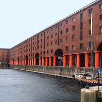 Albert Dock along the waterfront in Liverpool, England