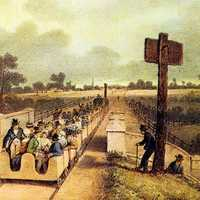 Inaugural journey of the Liverpool and Manchester Railway in 1830 in England