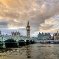London with Victoria Bridge and Big Ben in England