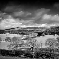 Black and White Scenic Landscape of England