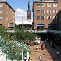 Coventry precinct with Cathedral Spire Background in England